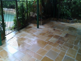 Artisan individually crafted sandstone paving